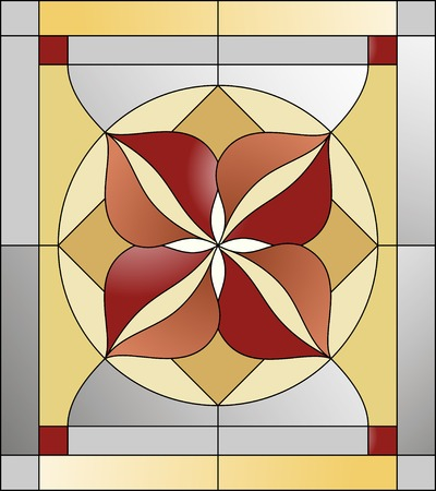 church window: Colorful stained glass pattern with geometric shapes