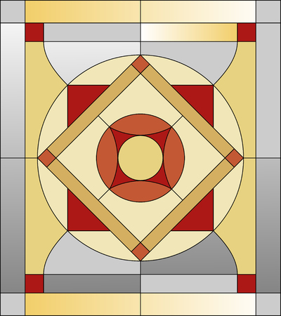 pattern of geometric shapes: Colorful stained glass pattern with geometric shapes