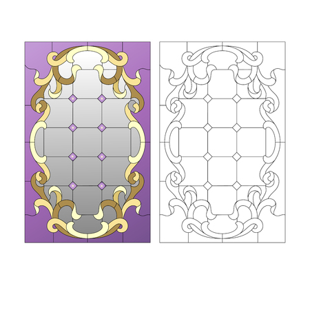 stained glass church: Stained glass window in the rococo style Illustration