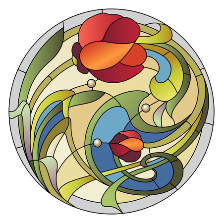 stained: Stained-glass pattern for a ceiling light with a red flower