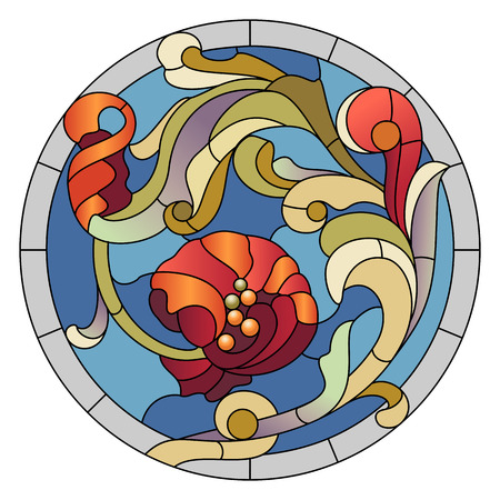 Stained-glass pattern for a ceiling light with a red flower
