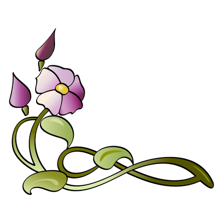 Sketch for fusing with purple, stylized flower