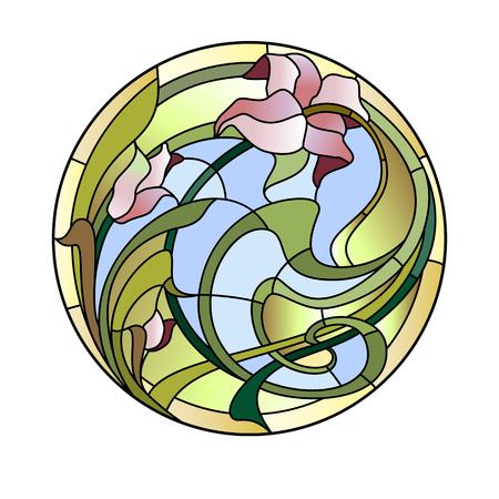 kunst: Buntglasdeckenleuchte mit Blumenmuster. Illustration