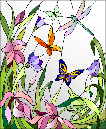 dragonflies: Stained glass window with flowers and butterflies