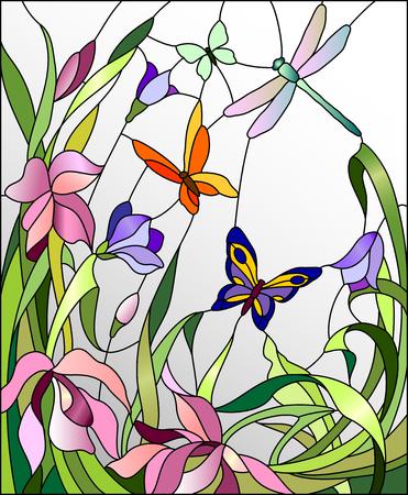 Vitrail avec des fleurs et des papillons Banque d'images - 48768484