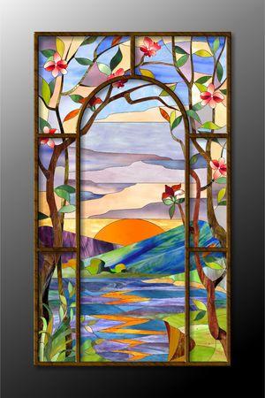 Gebrandschilderd glas partitie met de zonsondergang over de rivier Stockfoto