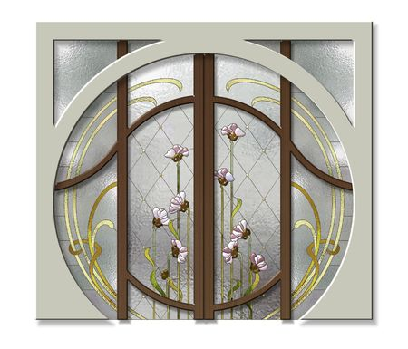 Doorway with stained glass in Art Nouveau style