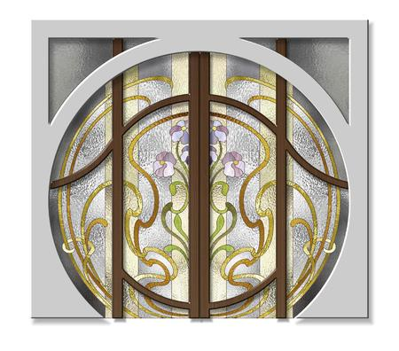 tiffany: Doorway with stained glass in Art Nouveau style