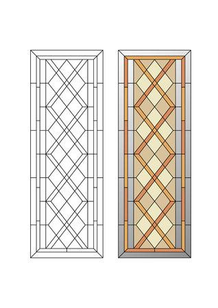 幾何学的な飾り、ステンド グラスの rhombs 証明されるパターンと 写真素材 - 48768610