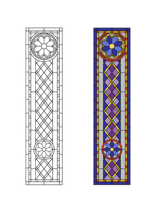 church window: Geometric ornament, stained glass with rhombs pattern
