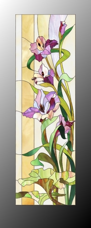 nature abstract: Sketch of stained glass with purple gladioli