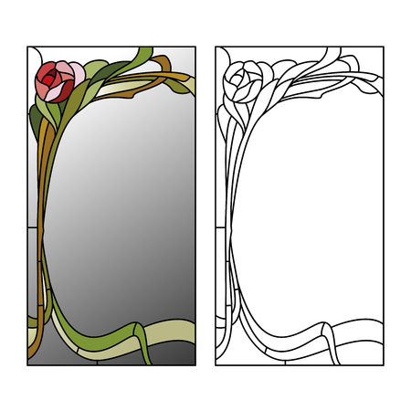 art nouveau design: Mirror framed stained glass with red roses Illustration