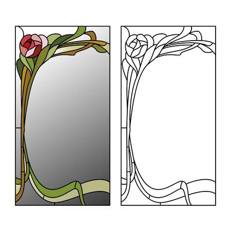 abstrakte muster: Spiegel umrahmt Glasmalerei mit roten Rosen