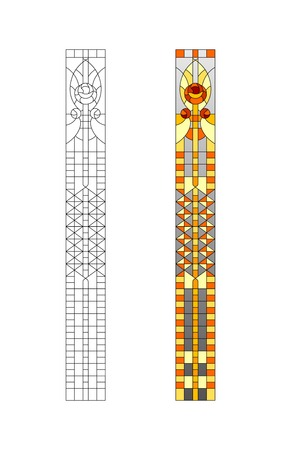 church interior: Sketch stained glass windows with geometric ornament Illustration