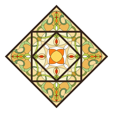 Stained glass pattern for ceiling light with  ornament