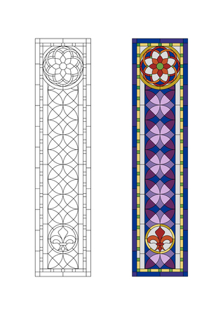 Stained glass  pattern with purple gothic ornament