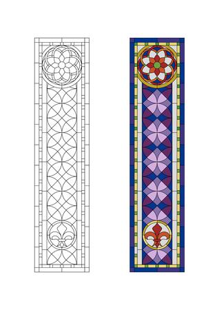 vidrio: Modelo del vitral con el ornamento gótico púrpura