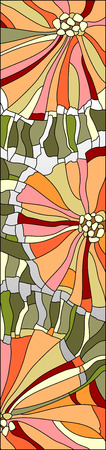 stained glass window with stylized flowers poppies Illustration