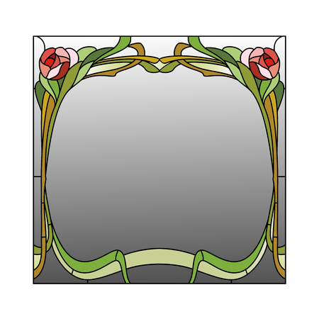 art nouveau border: Mirror framed stained glass with red roses Illustration