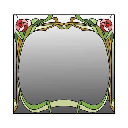 Spiegel umrahmt Glasmalerei mit roten Rosen Standard-Bild - 48768624