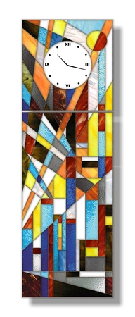 Stained-glass decorative panels clock on the abstract background Stock Photo