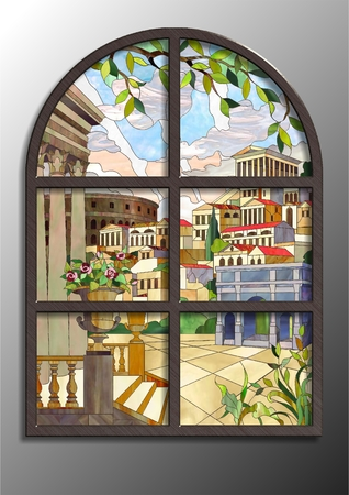 Stained glass decorative panels from ancient Rome Standard-Bild