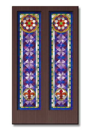 church interior: Doors with stained glass