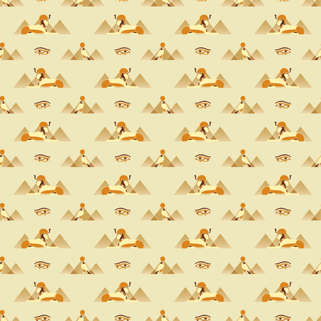 egyptian culture: Seamless pattern with ancient Egyptian symbols - Sphinx, Anubis, Eye of Horus Illustration