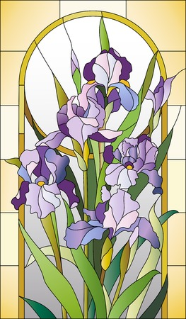 art nouveau border: Stained glass pattern for a window  with irises