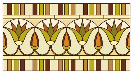 lily flowers collection: Lotus in the ornament of ancient Egypt to the frescoes, stained-glass window or border