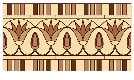 Lotus dans l'ornement de l'Egypte ancienne aux fresques, vitrail ou frontière Banque d'images - 49172190