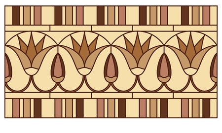 Lotus in the ornament of ancient Egypt to the frescoes, stained-glass window or border
