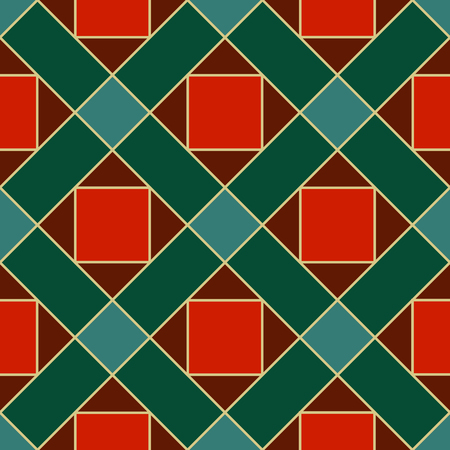 Seamless pattern  plaid material with rhombs  and squares Çizim