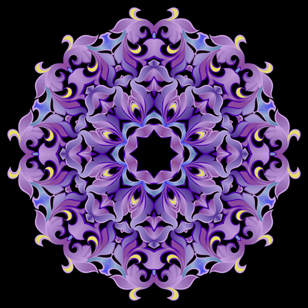Pattern, ornament in violet colors on a black background 일러스트