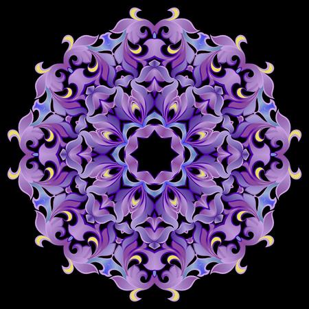 Pattern, ornament in violet colors on a black background Illustration