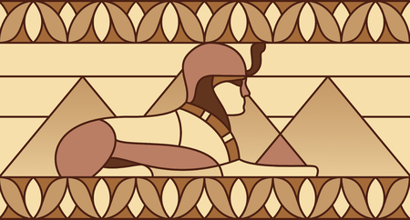 Sphinx on the background of the pyramids in ancient Egyptian ornament Archivio Fotografico