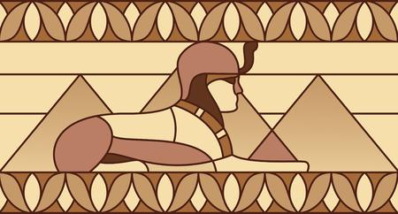 Sphinx sur le fond des pyramides dans l'ancienne ornement égyptien Banque d'images - 49172196