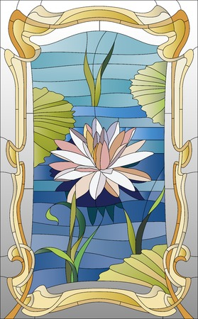 stained glass window with lotus on the water