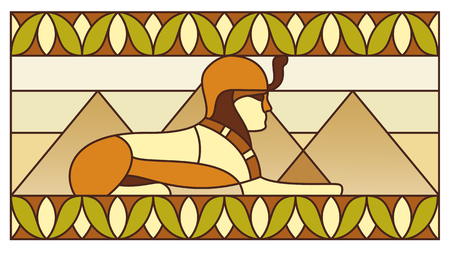sphinx: Sphinx on the background of the pyramids in ancient Egyptian ornament Stock Photo