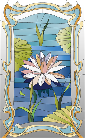 vidro: vitral com lótus na água Banco de Imagens