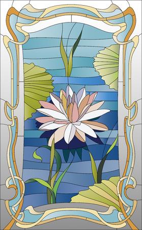 anteojos: vitral con loto en el agua Foto de archivo