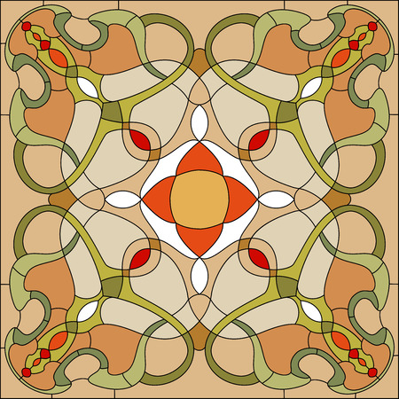 Stained glass window in Art Nouveau style