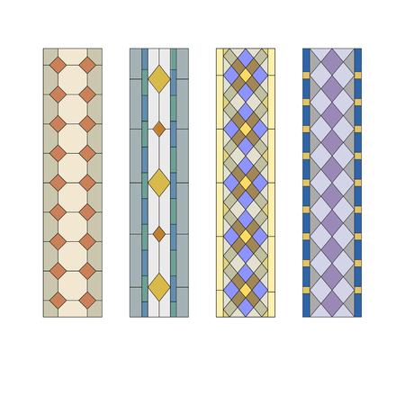 Geometrische Verzierung, Glasmalerei Muster mit Rauten Standard-Bild - 49172214