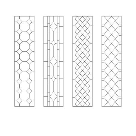 Geometric ornament, stained glass pattern with rhombs