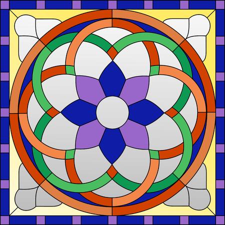 Buntglasverzierung im gotischen Stil für das Fenster Standard-Bild - 49172241