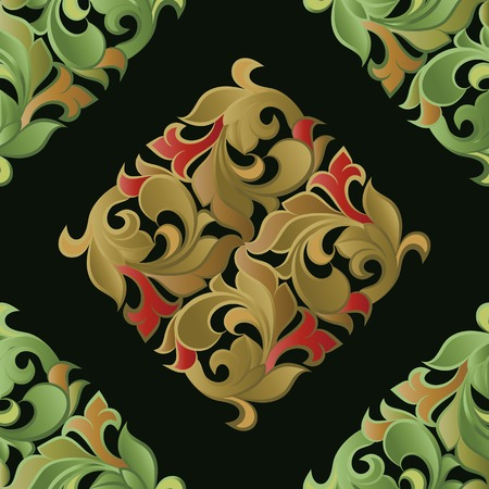 Seamless pattern on the basis of floral ornament