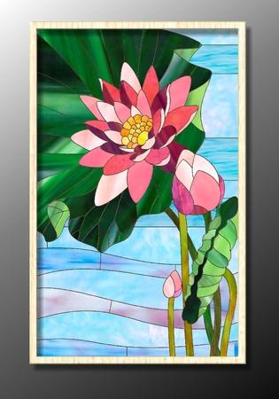 Glasfenster mit Lotus auf dem Wasser Standard-Bild - 49172243