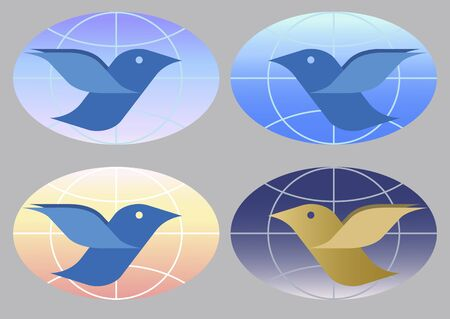 bird on a background of the globe in the morning, afternoon, evening and night