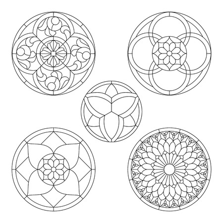 stained glass templates, round elements for stained glass windows