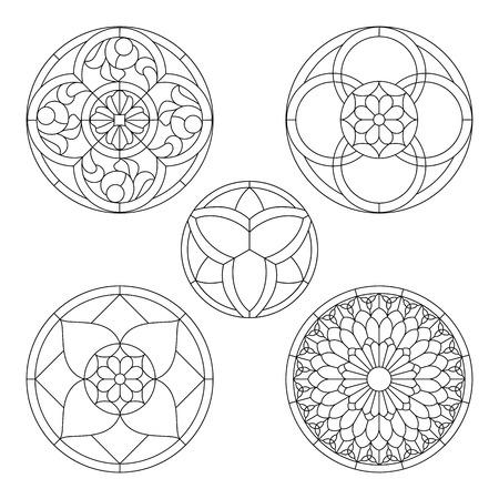 abstrakte muster: Glasmalerei-Vorlagen, runde Elemente für Buntglasfenster Illustration